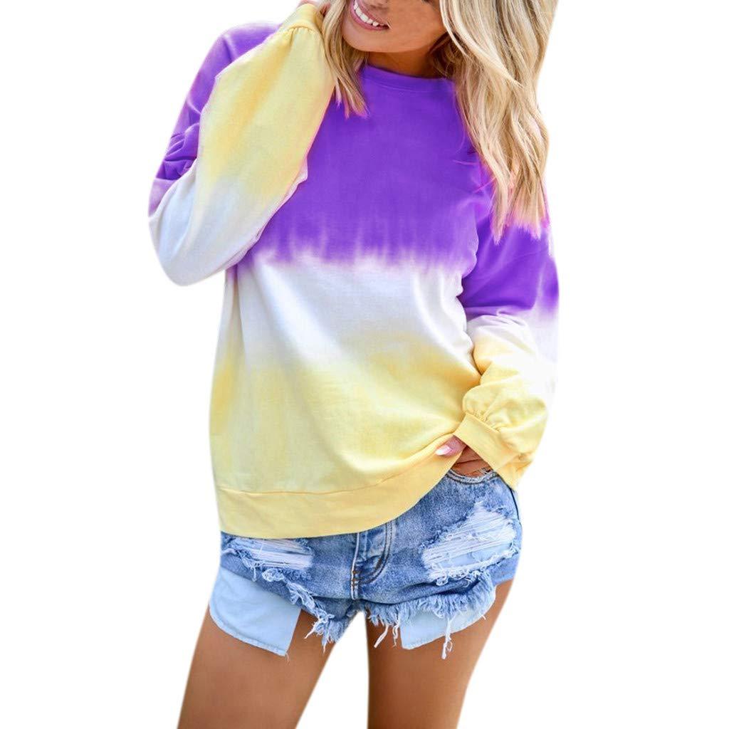Shusuen Women's Casual T-Shirt Long Sleeve Cowl Neck Tunic Sweatshirt Dyed Tied Tops Blouse Purple by Shusuen_Clothes