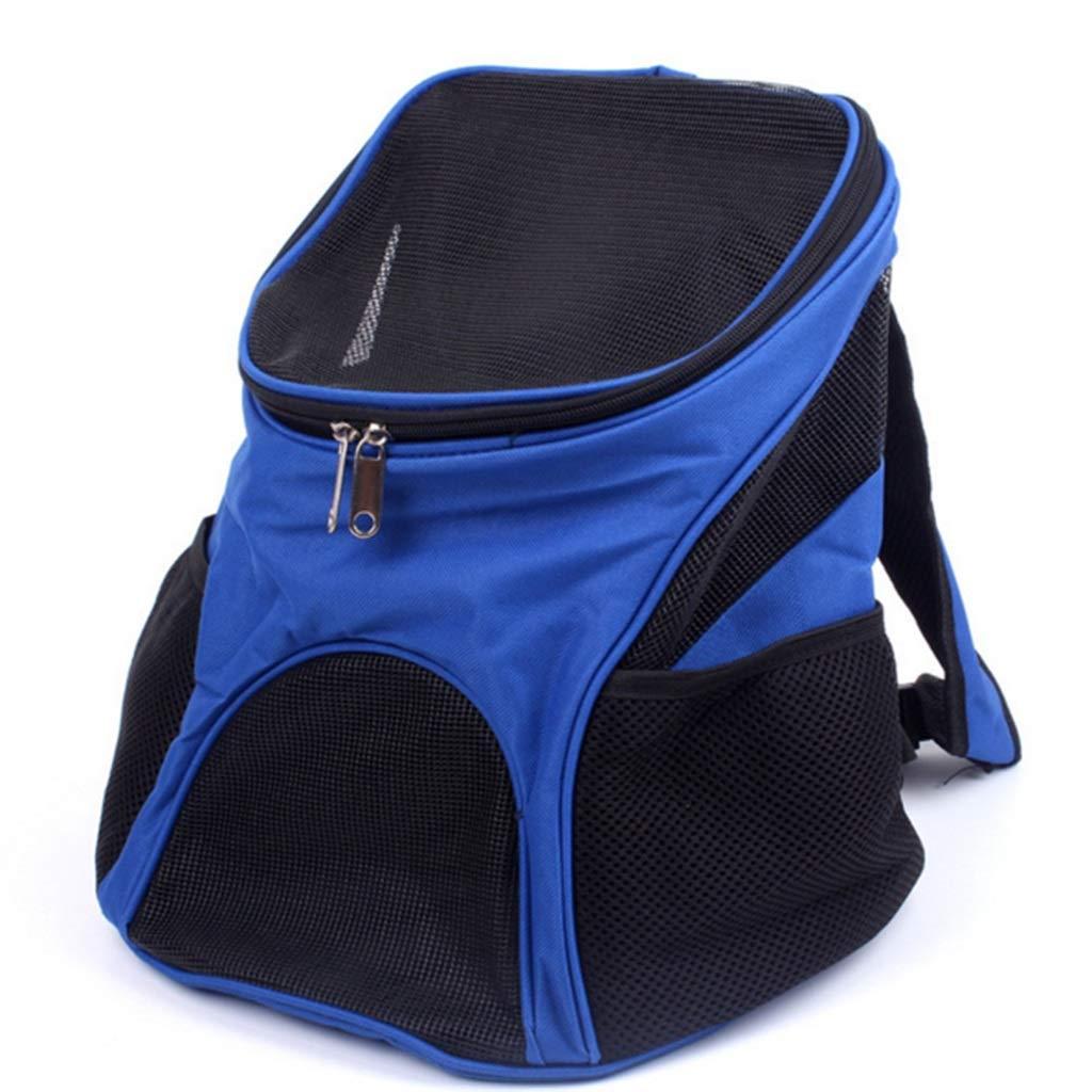 ペットトラベルバックパックバッグネコドッグキャリアーポータブルラゲージバッグ(ブルー)