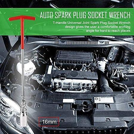 Manija en T Articulación Universal Bujía Bujía Socket Remover Llave Instalador Reparación de automóviles: Amazon.es: Electrónica