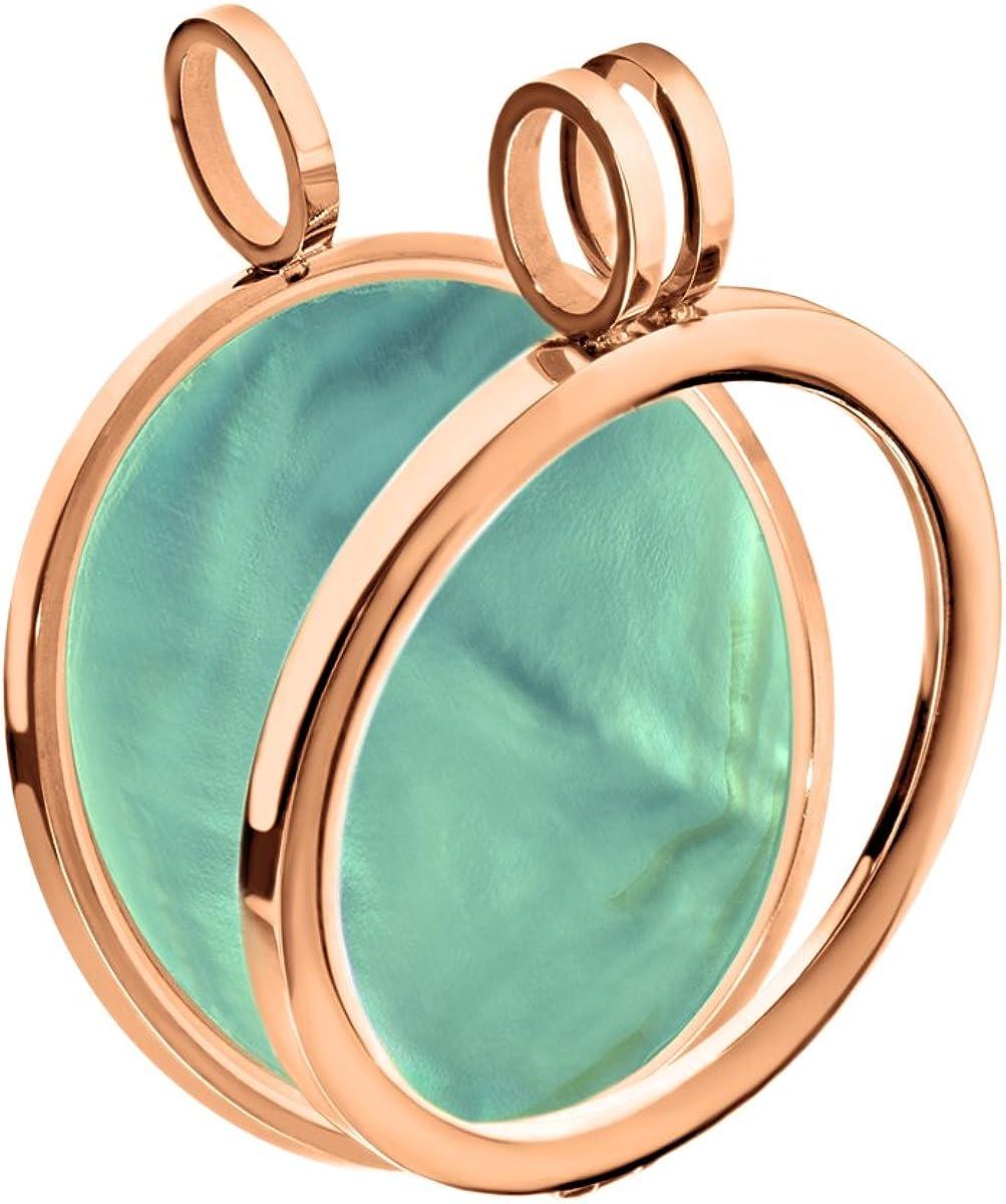 Quiges Plaqu/é Or Rose Cuivre Interchangeable Medaillon Pendentif Coin Monnaie 25mm Petit avec Bague en Cristal