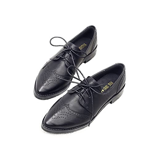 9b2786372c5 T-JULY Women s Classic Oxfords Shoes - Wingtip Vintage Perforated Pointed  Toe Casual Shoes Black