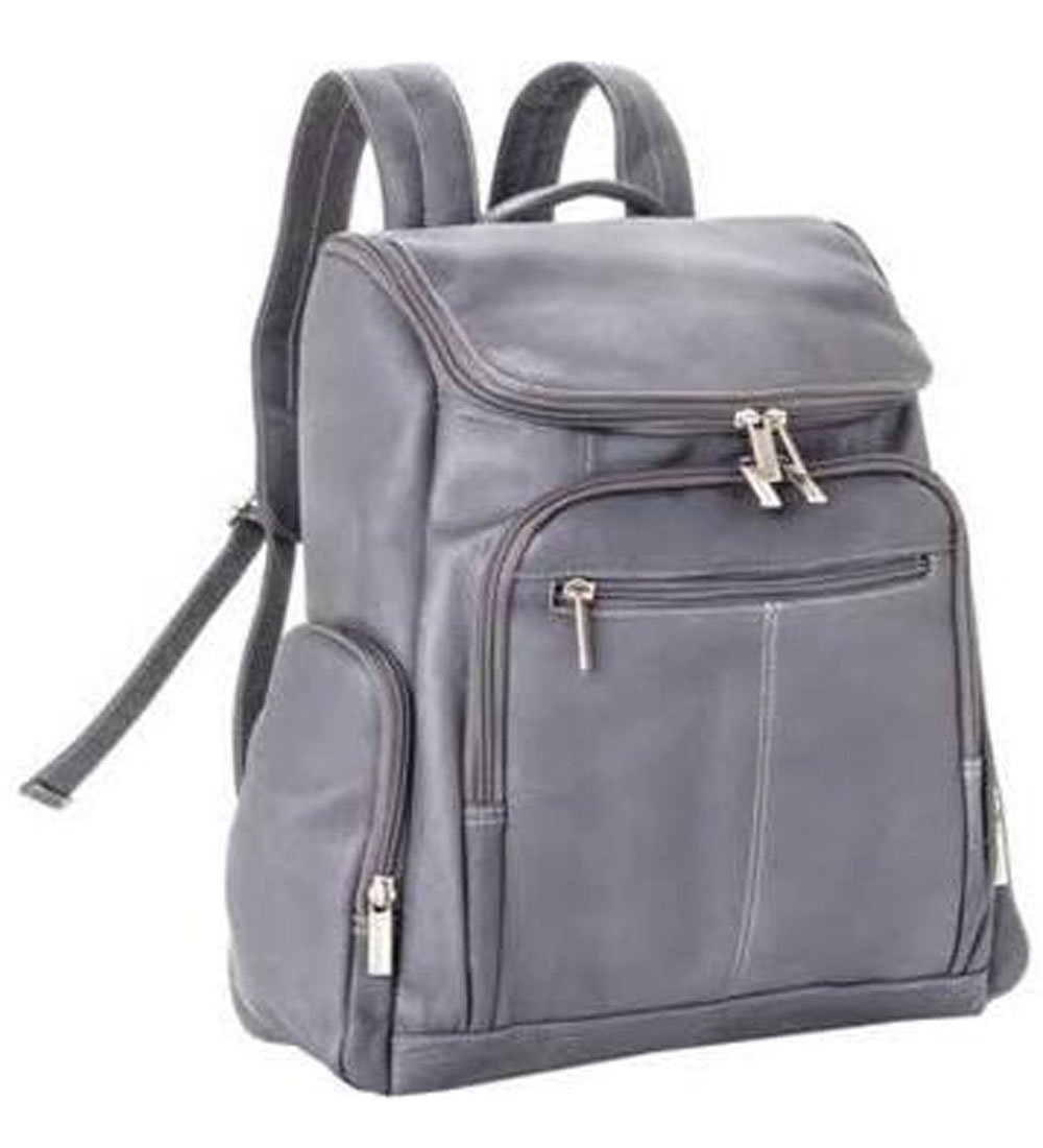 Le Donne Leather Distressed Leather Computer Backpack,One Size,Grey by Le Donne Leather