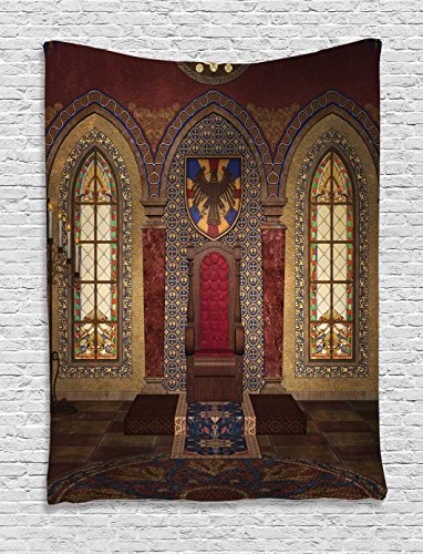 Ambesonne Gothic Tapestry, Red Medieval Throne in Chapel Eagle Portrait on Wall Ancient Fantasy Building Print, Wall Hanging for Bedroom Living Room Dorm, 60 W X 80 L Inches, Brown Ruby