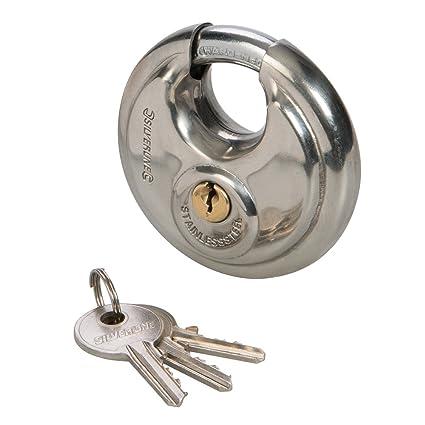 Silverline 292707 - Candado circular de acero inoxidable (70 ...
