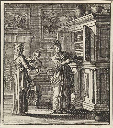 Classic Art Poster - Woman gets stuff out of a box, Jan Luyken, 1711