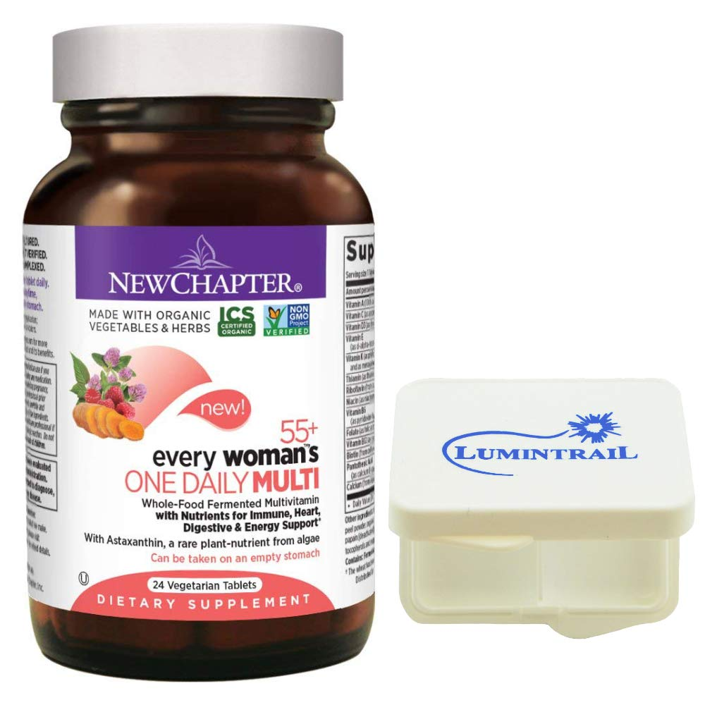 New Chapter Multivitamin – Every Woman s One Daily 55 with Fermented Probiotics Whole Foods Astaxanthin Vitamin D3 and B Organic Non-GMO Ingredients – 24 ct Bundle with a Lumintrail Pill Case