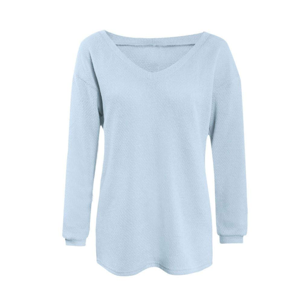 Women Sweater Oto/ño de la Mujer de Invierno Suelta Mangas largas con Cuello en V Jersey Tops Blusa