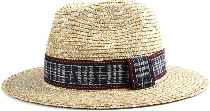 Sombreros de moda Sombrero de Paja Retro Panamá Sombrero de Sol para Hombre Sombrero de Paja Playa Rojo Tela a Cuadros Negro Verano Elegante Sombrero de Caballero Sombrero de Jazz