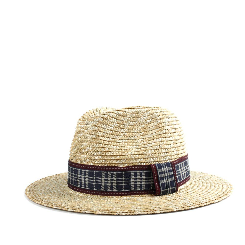 MUMUWU Sun Hat Male Straw Retro Panama Cap Beach Red Black Plaid Fabric Summer Elegant Gentleman Jazz Hat (Color : 1, Size : 56-58CM)