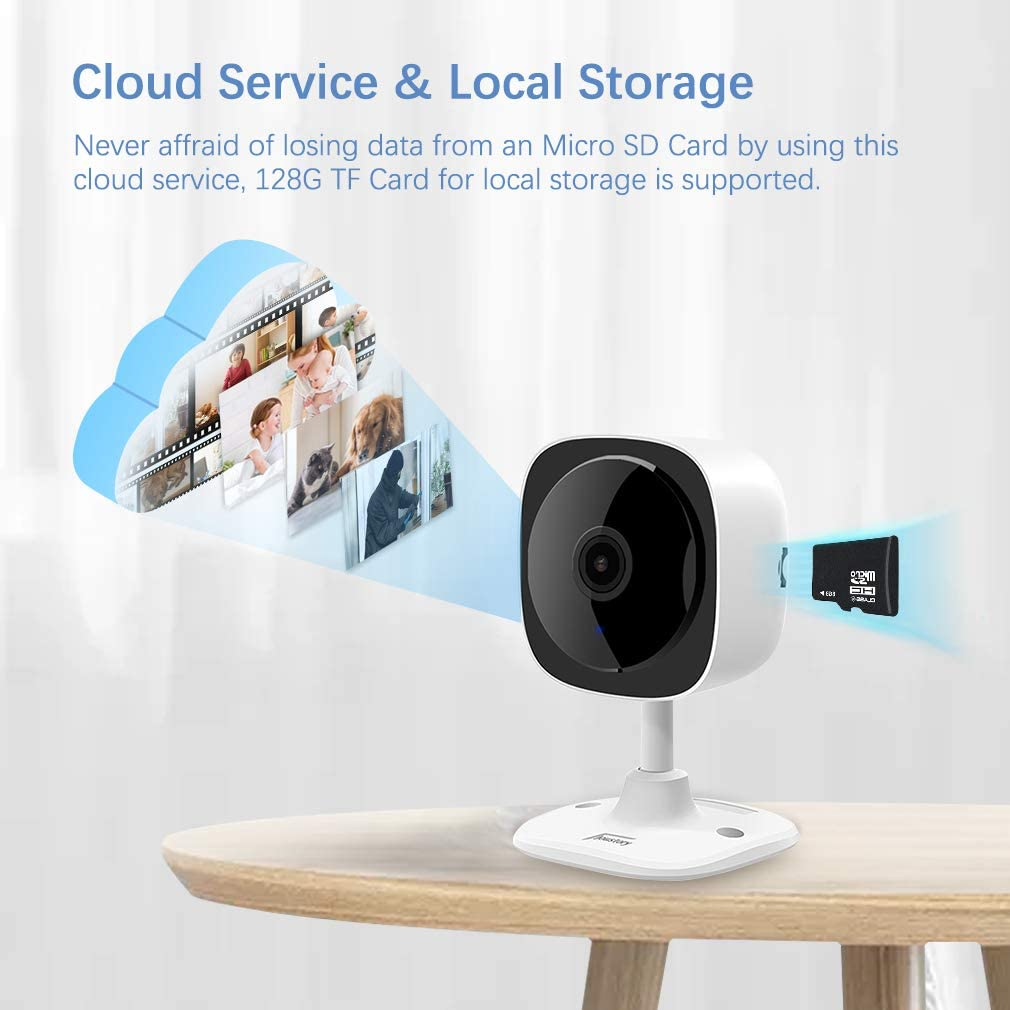WiFi Camera 1080P Wireless Home Indoor Security Camera with 180/° Panoramic View Joustory IP Camera Pet Nanny Baby Monitor with Night Vision 2 Way Audio Motion Detection and Cloud//TF Card Storage