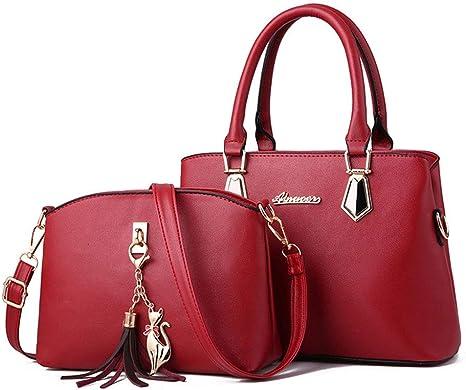 RXINLEIRXINLEI LNA Totes Clutch Satchels Top Handle Hombro Crossbody Bags Pack Monedero Y Bolsos para Mujer 2 Pcs Bag Set PU Tassel,Rojo: Amazon.es: Deportes y aire libre