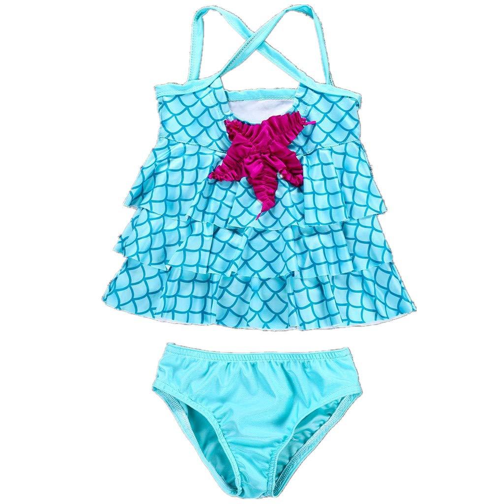 Tsyllyp New Arrivals Little Girls Swimsuit Mermaid Two Piece Tankini Swimwear
