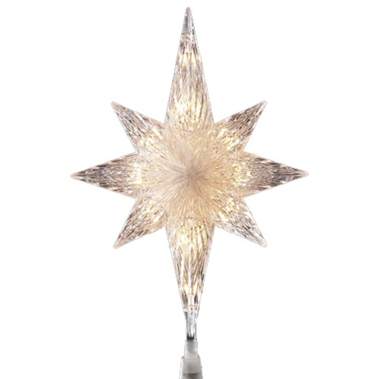 """11"""" Lighted Clear Crystal Star of Bethlehem Christmas Tree Topper - Clear Lights"""