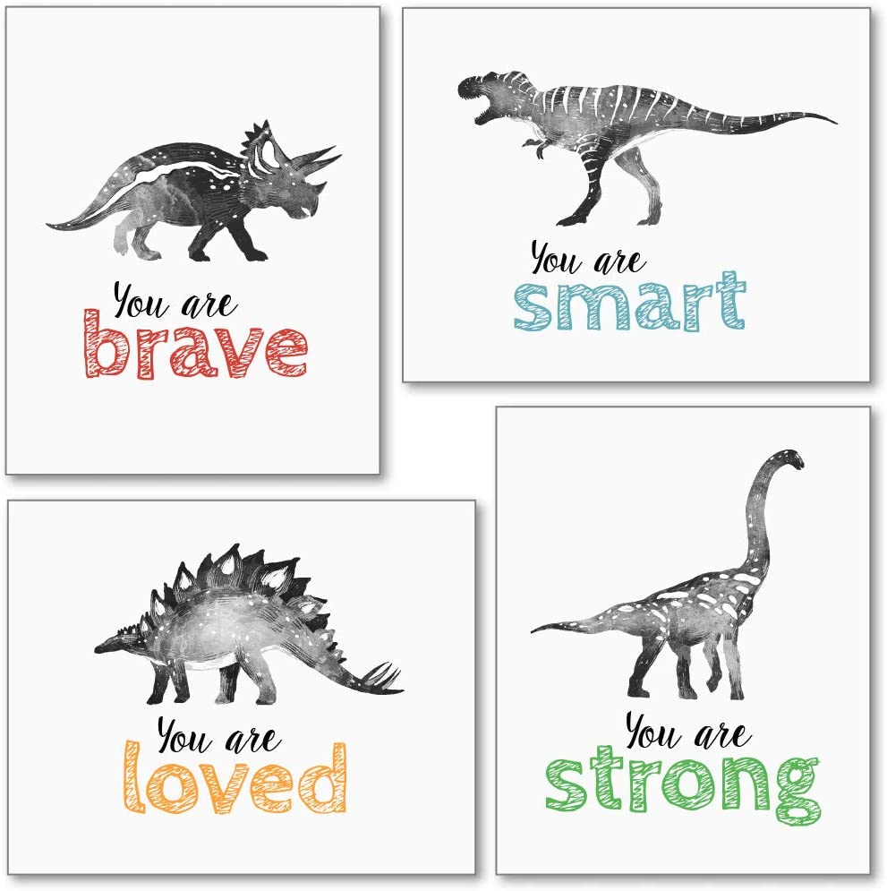 Confetti Fox Dinosaur Wall Art for Little Boys Room, Baby Nursery Posters, Motivational Kids Playroom Dino Decor, Toddler T-Rex Positive Affirmations Quotes (8x10 Unframed Set of 4 Prints)