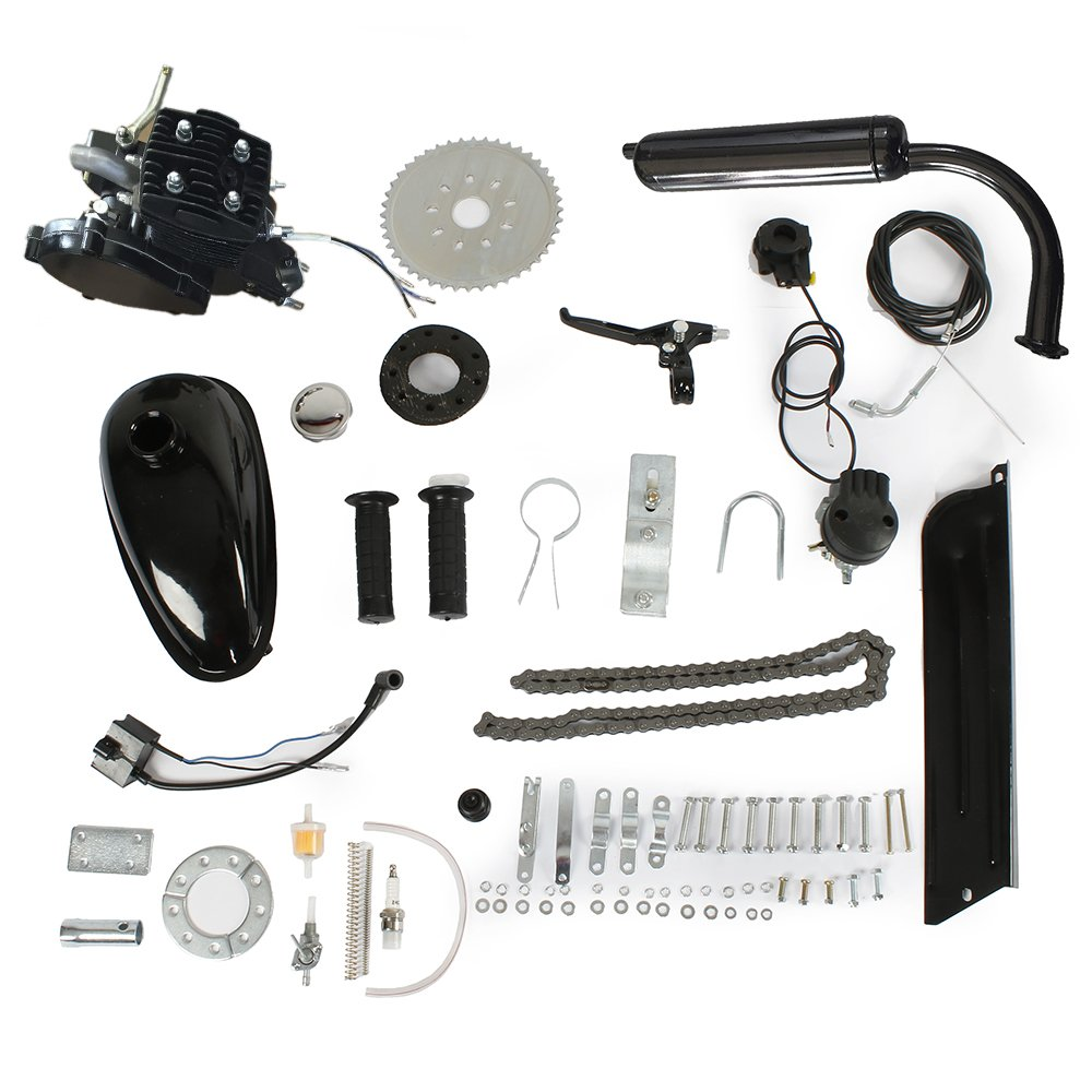 Goujxcy Roadstar 80CC 24'' 2'' Bike Bicycle Motorized 2 Stroke Cycle Petrol Gas Engine Kit Set (Black)