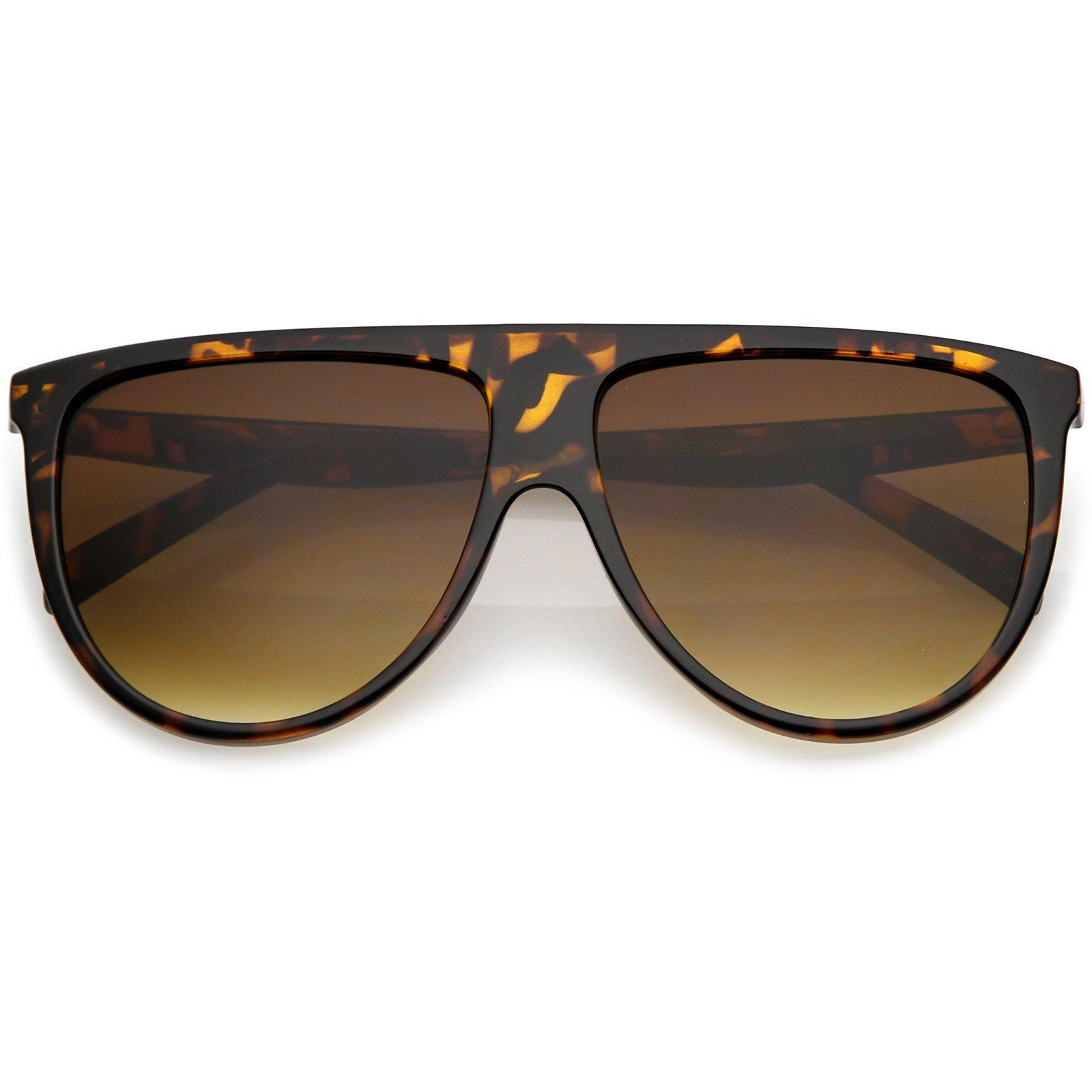 sunglassLA - Modern Oversize Flat Top Aviator Sunglasses With Neutral Color Flat Lens 59mm (Tortoise/Amber)