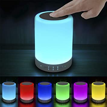 Elecstars Touch Bedside Lamp   With Bluetooth Speaker, Dimmable Color Night  Light, Outdoor Table