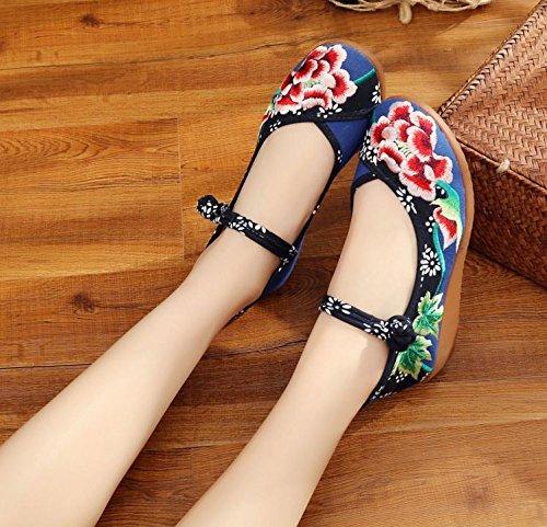 WXT Zapatos bordados, lino, lenguado del tendón, estilo étnico, zapatos femeninos aumentados, manera, cómodo, ocasional Blue