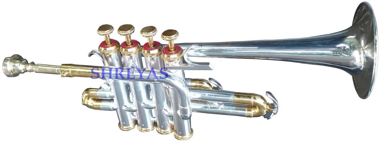 SILVER + Brass Piccolo Trumpet Brass Finish Picollo Bb/A Pitch W/Case-Mp