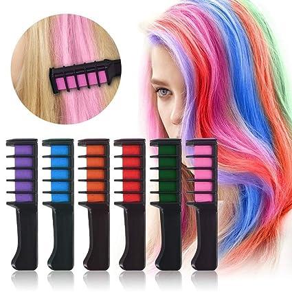 01ea4cdc2 6 Colores Set de Tizas Para el Pelo de Mujer Niña, Tinte Capilar Con Tiza  desechable ...