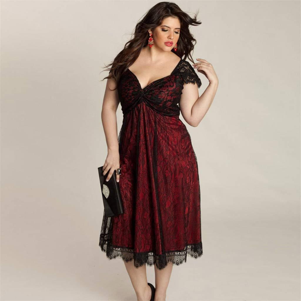 Yaseking Womens Plus Size Dresses, Fashion Sleeveless Lace ...