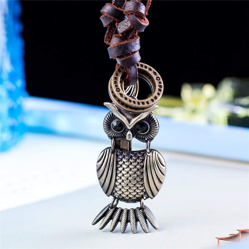 Mens necklace Owl Pendant Women Men Jewelry Statement Necklaces /& Pendants Kolye Vintage Long Leather Necklace Men Collier Femme