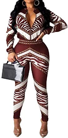 FSSE Women's Casual Regular Fit Zip Up Print 2 Pcs Set Tracksuits Outfit 2 L