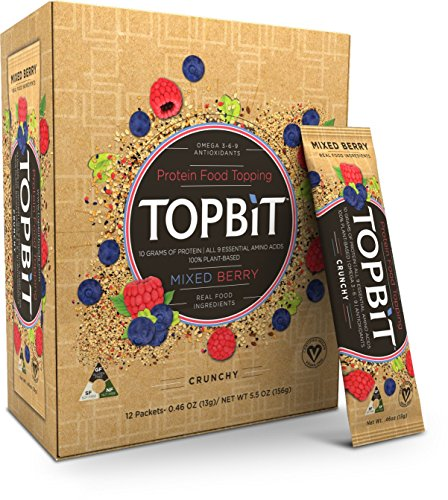 TOPBiT--Protein Food Topping Mixed Berry--12 Packets--Plant-Based Vegan Protein Topping--Sugar Free, Dairy Free, Gluten - Sprinkles Berry