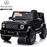 Dorsa Licensed Mercedes Benz AMG G63 12V Ride On Car with Remote Control for Kids, Suspension System, Openable Doors, LED Lights, MP3 Player, New Version - Black