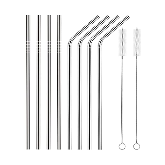 Set of 8 Stainless Steel Straws FDA-Approved U...