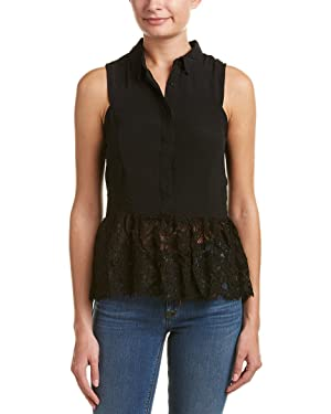 Do+Be Womens Lace-Trim Top, M, Black