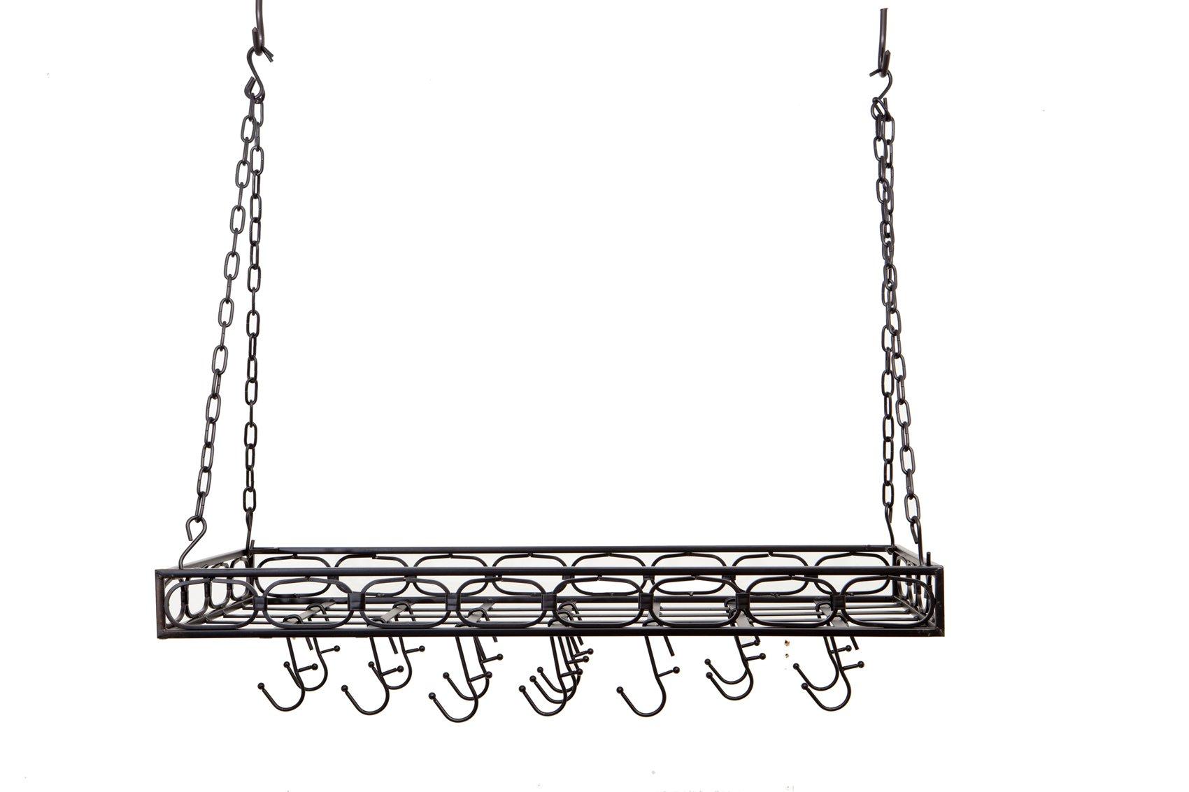 Old Dutch Rectangular Hanging Pot Rack with 16 Hooks, Matte Black, 36 x 18 x 4 inches