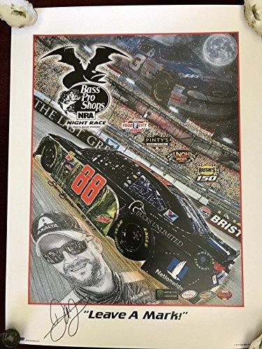(Autographed Dale Earnhardt Jr. Photograph - Leave A Mark SAM BASS 18x24 Poster - Autographed NASCAR Photos)