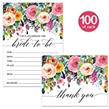 Bride-to-Be Shower Invitations ( 100 ) & Thank You Notes ( 100 ) Matching Set with Envelopes Large Celebration Wedding Party Maid of Honor Pretty Fill-in Invites & Folded Thank You Cards Best Value