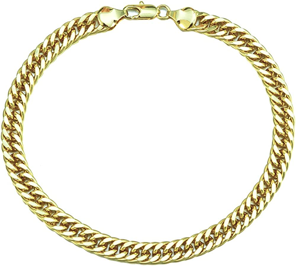 kelistom 14K Gold Plated Thick Cuban Anklet, 7mm Wide Cuban Link Ankle Bracelets for Women and Men, Miami Curb Chain Anklet 9 10 11 inches, Flat and Waterproof