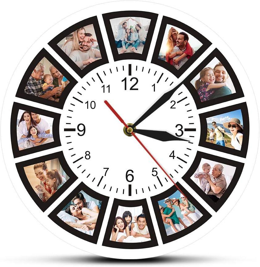 Relojes de Pared Personalizados 12 Fotos Collage Forma Simple y generosa, Elegante y con Personalidad Instalación fácil y Bastante Estable para la Sala de niños de la Escuela de Oficina