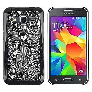 FECELL CITY // Duro Aluminio Pegatina PC Caso decorativo Funda Carcasa de Protección para Samsung Galaxy Core Prime SM-G360 // Leaves Heart Art Ink Pen Drawing