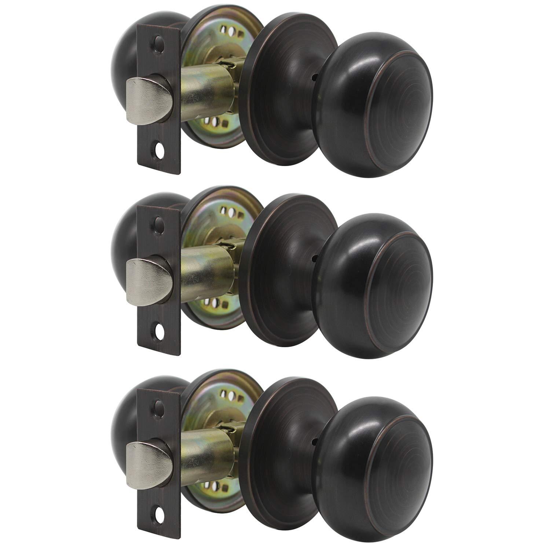 Probrico Oil Rubbed Bronze Passage Door Lock Keyless Knob Handles Leversets (Hall & Closet) 3 Pack