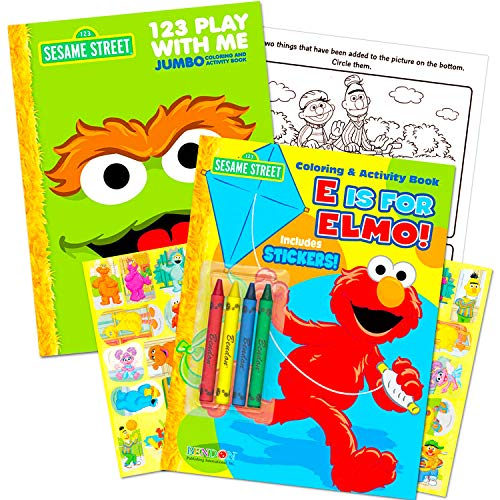 Sesame Street Coloring Book Super Set with Sesame Street Crayons -- 2 Coloring Books, Over 160 Coloring Pages and 60 Stickers -