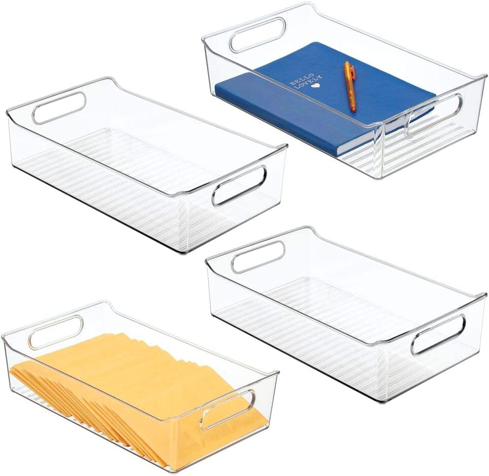 mDesign Plastic Drawer Organizer Tray with Handles for Home Office, Desk Drawer, Shelf, Closet - Holds Highlighters, Pens, Scissors, Adhesive Tape, Paper Clips, Note Pads - 4 Pack - Clear