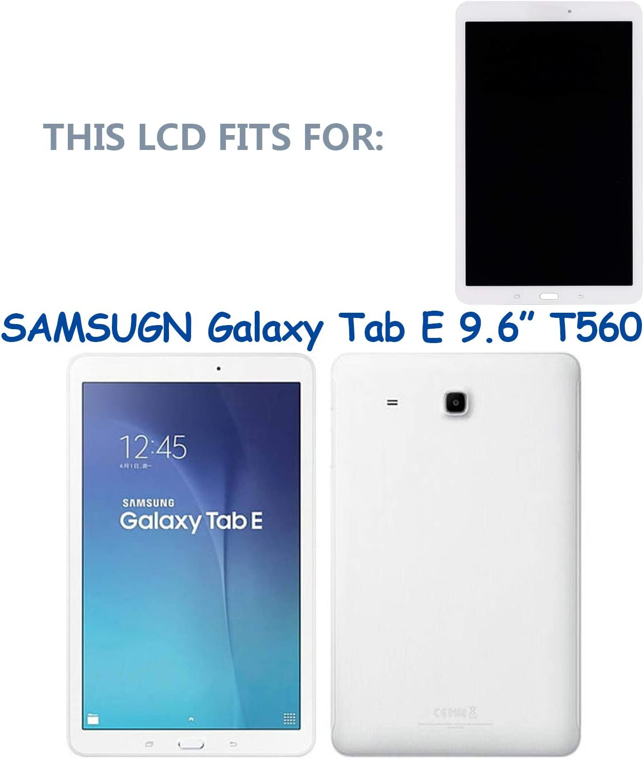 LCD Display Touch Screen Digitizer Assembly New LCD Display Compatible with Samsung Galaxy Tab E T560 SM-T560 SM-T561 T561 9.6 inch White NO Frame