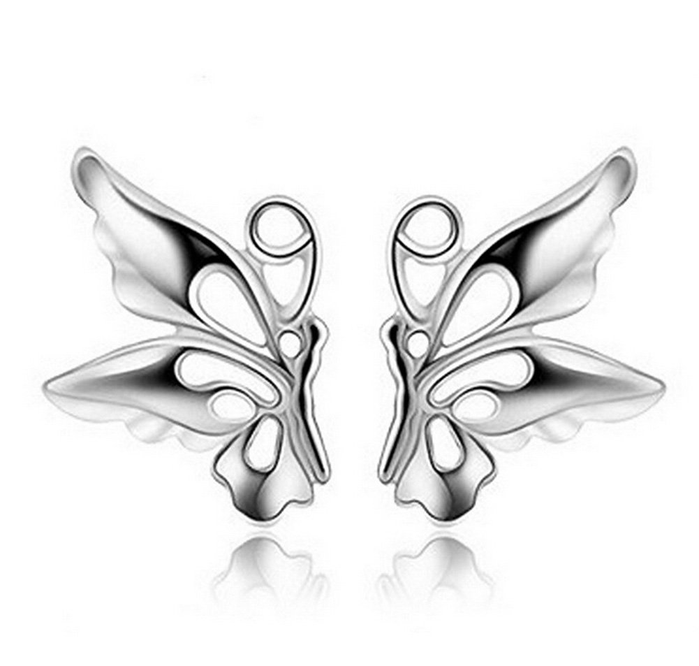 Lovind Delicate Butterfly Stud Earring,Fashion Silver Plated Earring for Girl Gift Valentine's Day Present