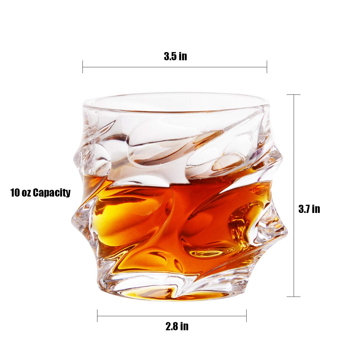 Old Fashioned Whiskey Glasses Set of 4 Glass Whisky Tumblers (300ml/10oz) Lead-Free Old Fashioned Glass Set, Crystal Glasses for Drinking Bourbon, Cocktails, Scotch, Vodka, and More