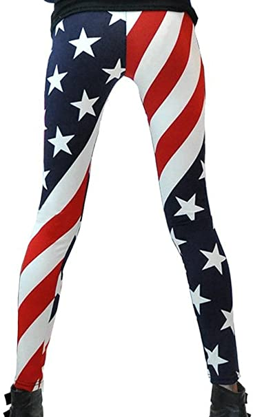 b63b2e3ad3c4f6 Bienvenu Women s Fashion USA American Flag Stars   Stripes Leggings at Amazon  Women s Clothing store