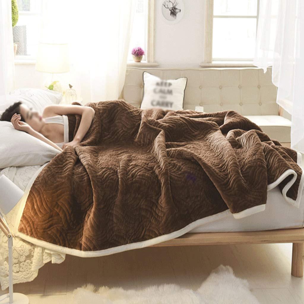 JIANXIN 毛布、コーラルフリース毛布、冬柔らかく快適な毛布、毛布クイーンサイズ暖かい毛布、寝具ウィンター、毛布ダブルサイズ (色 : Deep coffee, サイズ さいず : 150cm*200cm) B07HKLF8TQ