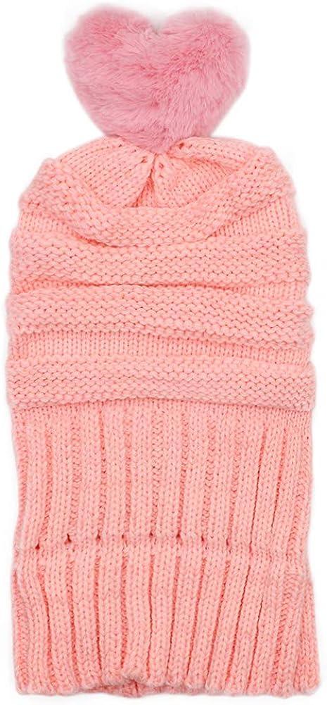 BUTITNOW Kids Girls Winter Pompom Beanie Hat Thick Cable Knit Fuzzy Fur Pom Fleece Lined Skull Beanie Age 7-15