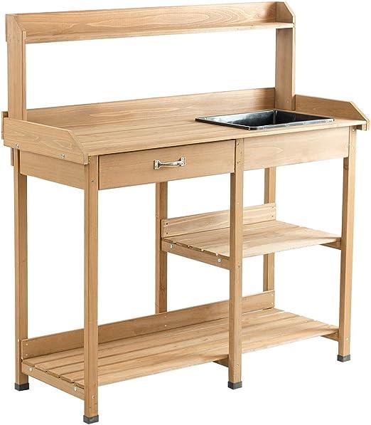 Giantex - Mesa de trabajo de madera para jardín, maceta, jardín, patio, interior y exterior, banco de macetas con fregadero, cajón, ganchos y estantes abiertos para mesas de jardinería para exteriores: Amazon.es: