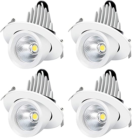 3Inch Recessed Stretchable LED Trunk Light 75W Equiv inShareplus Adjustable LED Downlight 10W Warm White 3000K-3500K Dimmable 800LM 4 Pack CRI80