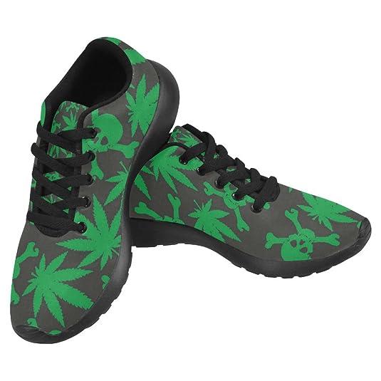Interestprint Women's Jogging Work Shoes Lightweight Sport Running Sneaker Flats - Cannabis Marijuana Leaf