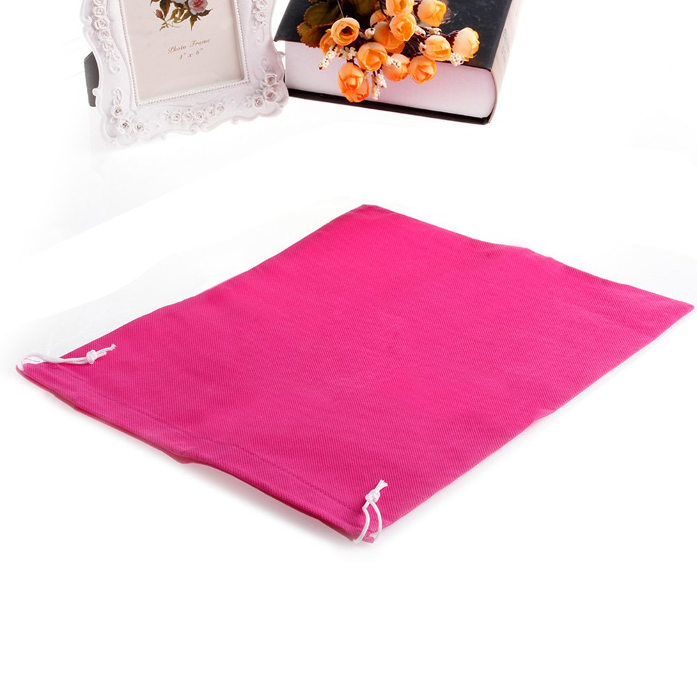 huanban072 Home Laundry Storage Holder Shoe Travel Portable Pouch Drawstring Tote Storage Bag Organizer (Hot Pink)